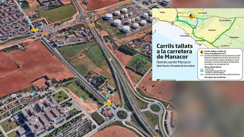 Caos circulatorio en Palma por los cortes en la carretera de Manacor