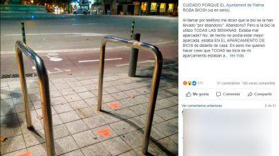 Una vecina de Palma denuncia que Cort 'roba bicis correctamente aparcadas'