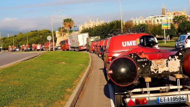 Efectivos de la UME que colaboraron en el dispositivo de Sant Llorenç se repliegan a la península