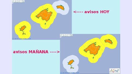 La Aemet amplía la alerta naranja por fuertes lluvias y tormentas a todo el archipiélago balear