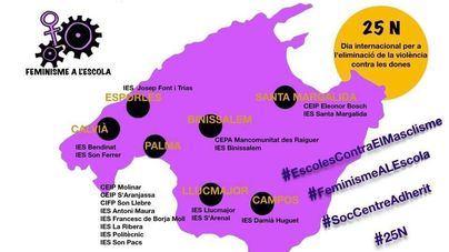 Treinta centros escolares de Mallorca preparan actos para el día contra la violencia hacia la mujer