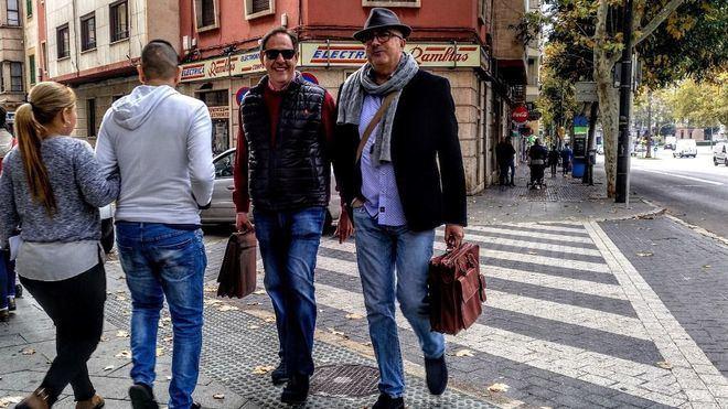 Penalva y Subirán llegando a los juzgados de Palma