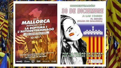 Una manifestación independentista y otra por la unidad de España coinciden este domingo en Palma