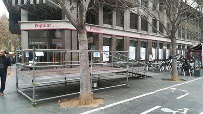 Cort monta la tarima de discapacitados para ver los conciertos de Plaza España detrás de un árbol