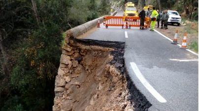 El mal tiempo provoca el hundimiento de un tramo de la carretera a Lluc
