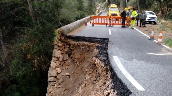 El Consell creará un paso alternativo al tramo hundido en la carretera a Lluc