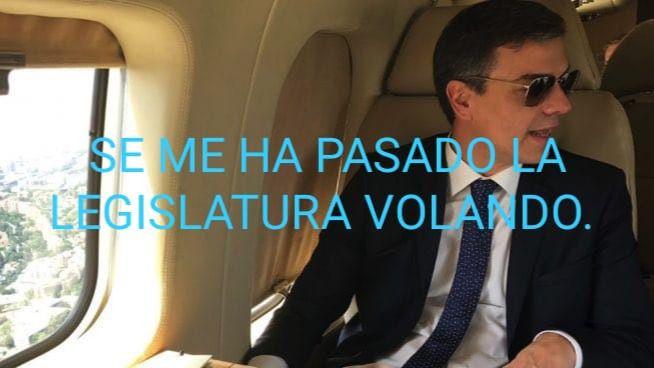 Viral de Internet: a Sánchez se le pasa la legislatura volando