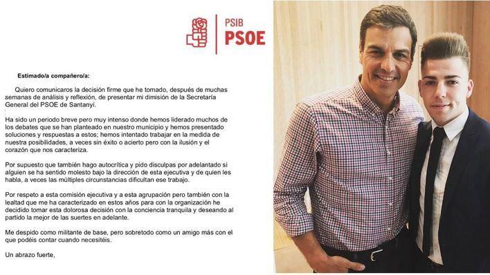 De izquierda a derecha: carta de dimisión, Pedro Sánchez y Jordan Thomas