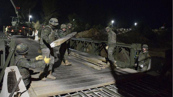 Los militares reparan el puente de Artà en una sola noche