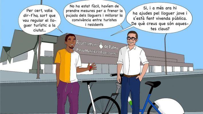 Hila presume en un cómic de construir vivienda pública y otros logros