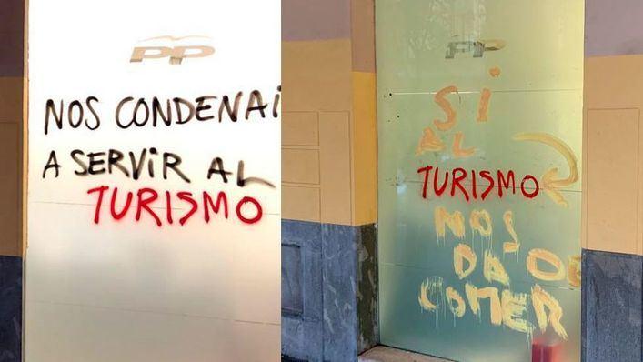 El PP 'reescribe' las pintadas vandálicas en su sede para dar un mensaje positivo