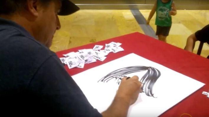 Bibi, 12 horas seguidas haciendo caricaturas a favor de Aspanob