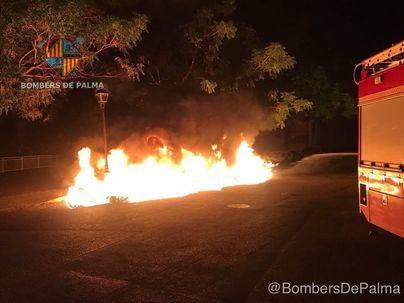 Un nuevo incendio calcina cuatro contenedores y afecta a dos vehículos en Palma