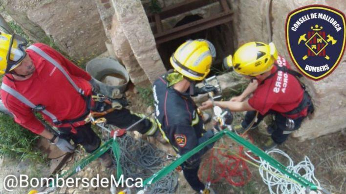 Rescatados 3 patos caídos en un pozo de 20 de metros de profundidad en Sa Pobla