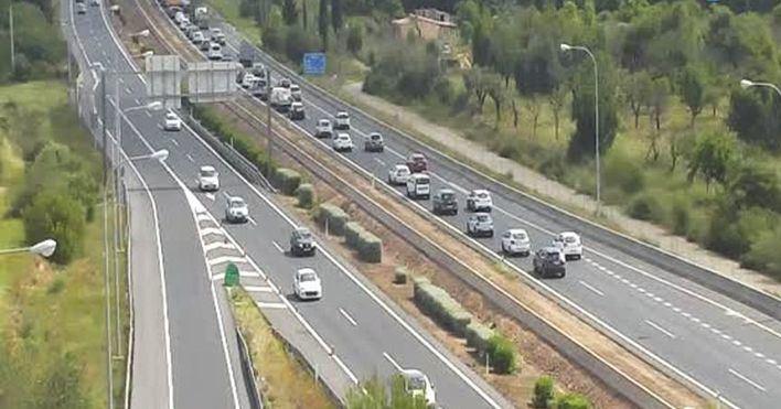Un accidente en la autopista de Inca provoca retenciones kilométricas