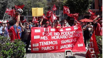 Continúan las protestas de los trabajadores de Parques y Jardines de Palma