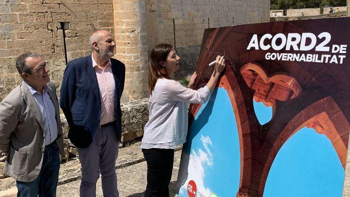 PSIB, Més y Podem firman el acuerdo de gobierno en Bellver