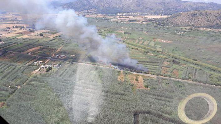 El incendio en Ses Jonqueres Veres obliga a restringir el tráfico de la carretera de l'Albufera una hora