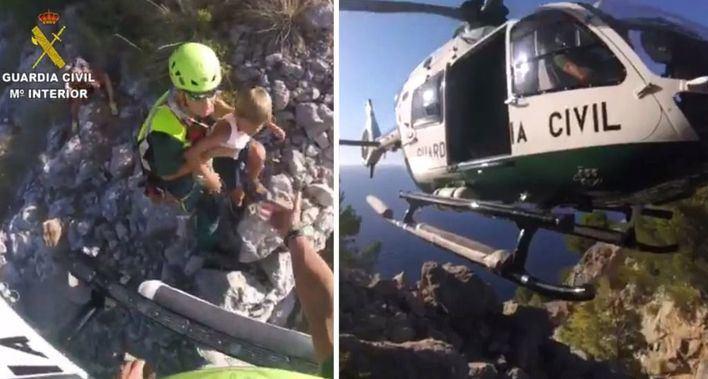 El helicóptero de la Guardia Civil rescata a una madre y sus hijos y a un senderista en Mallorca