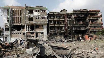 El lugar del ataque, tras la explosión.
