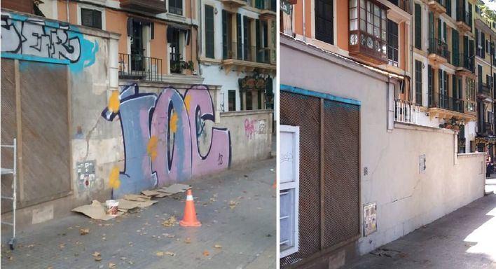 Emaya elimina 7 pintadas vandálicas en Palma