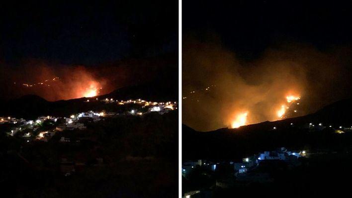 Las rachas de viento complican la extinción del incendio en Gran Canaria