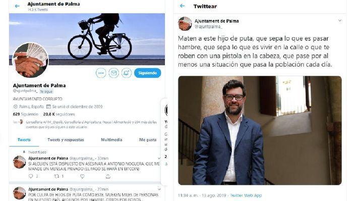 Hackean el Twitter de Cort para amenazar de muerte a Antoni Noguera