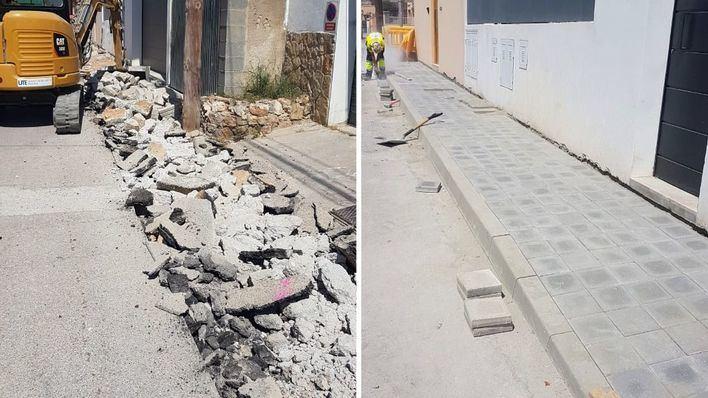 La calle Molí d'es Compte de Establiments renueva sus aceras