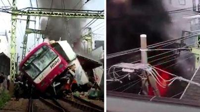 Un muerto y 30 heridos en una impresionante colisión entre un tren y un camión en Japón