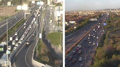 Colas monumentales en los accesos a Palma por dos camiones averiados