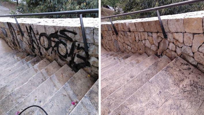 Emaya elimina 1.300 pintadas vandálicas en dos meses