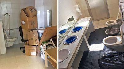 Inodoros sellados y cubos para lavarse en el Ceip Ses Cases Noves