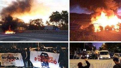 Carreteras cortadas y vuelos cancelados en la huelga de Cataluña