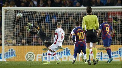 El Mallorca cae ante el Barça tras un primer tiempo infernal