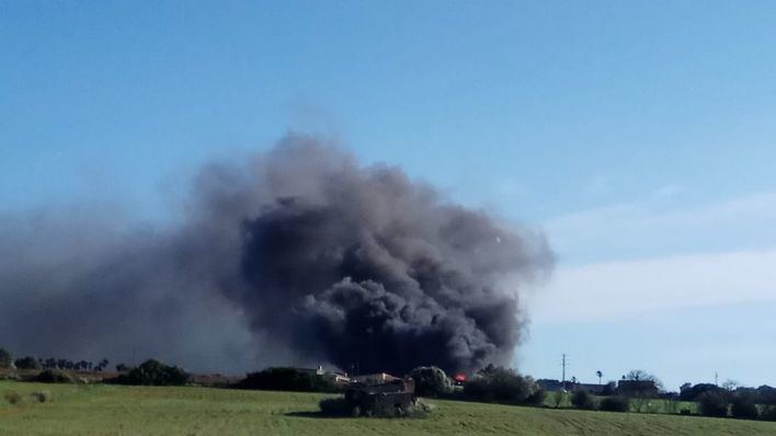 Un incendio destruye una nave de frutas y verduras en Can Picafort