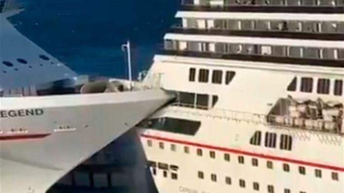 Así chocan dos cruceros en el Caribe