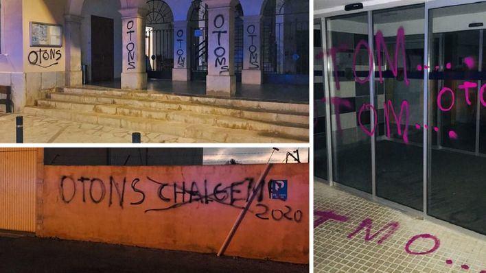 Cazan al autor de las pintadas vandálicas en edificios de Ses Salines