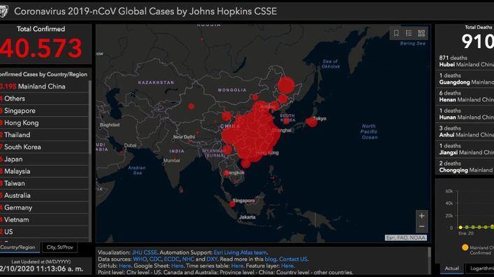 La web de recuento del coronavirus en tiempo real supera ya los 40.500 casos confirmados