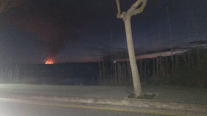 Aparatoso incendio en s'Albufera