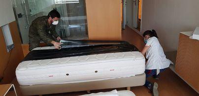 Así transforma el Ejército el Meliá Palma Bay en un hospital para enfermos de coronavirus