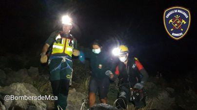 Rescate nocturno de una mujer y su perro en la Serra del Cavall Bernat, Pollença