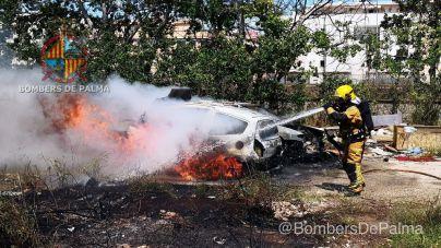 Arden dos coches en Son Gotleu