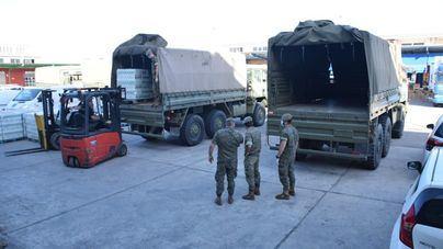El Ejército transporta 37 toneladas de productos del Banco de Alimentos de Mallorca