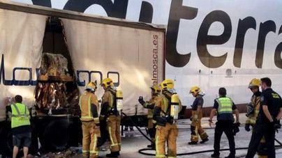 Alarma en el Puerto de Palma por el incendio de un camión
