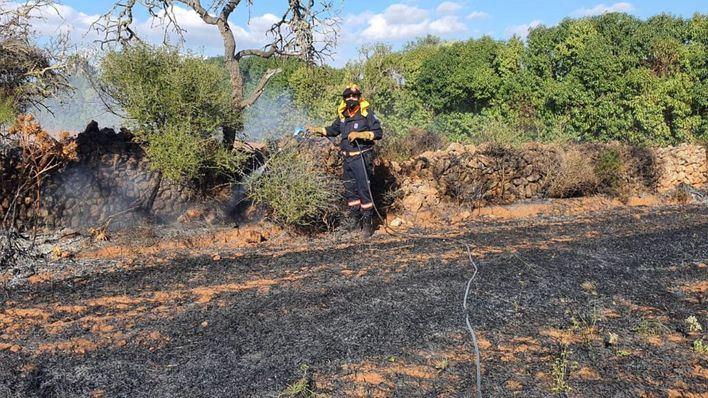 Un incendio afecta a una finca agrícola cercana al polígono de Son Noguera, en Llucmajor