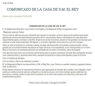 Juan Carlos I comunica al Rey su decisión de abandonar España