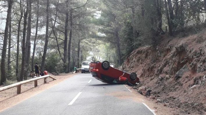 Un herido grave y tres leves en un accidente de tráfico en Sóller