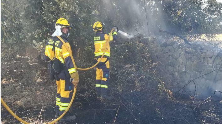 Un incendio afecta a unos terrenos agrícolas de la zona de es Pujolet, en sa Pobla