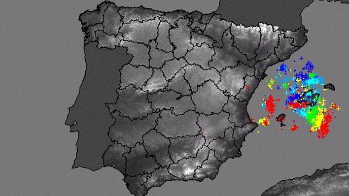 La tormenta deja más de 600 rayos en las costas de Mallorca y el centro de Ibiza