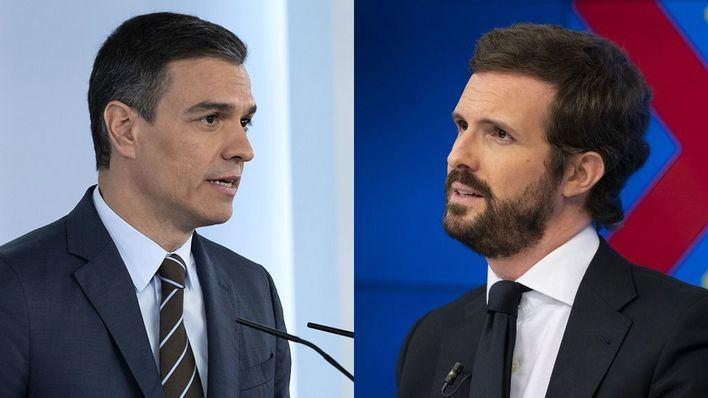 Sánchez acusa al PP de incumplir la Constitución y Casado denuncia que busca su